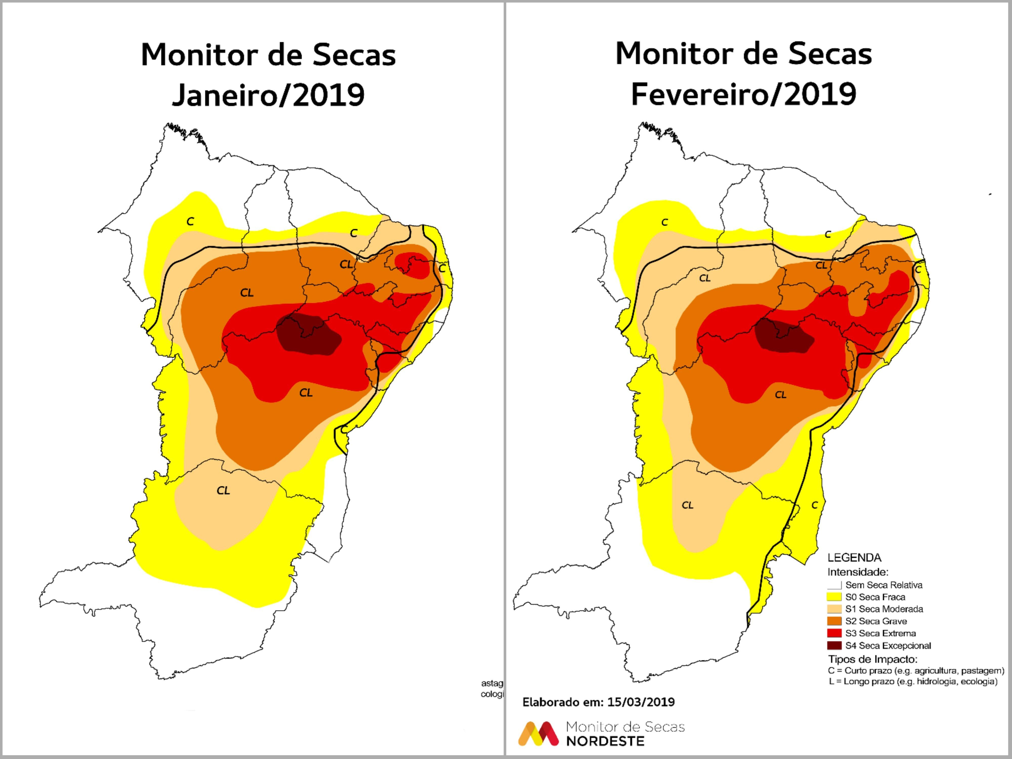 Mapas comparativos de janeiro e fevereiro mostram variação dos níveis de seca (FOTO: Monitor de Secas Nordeste)