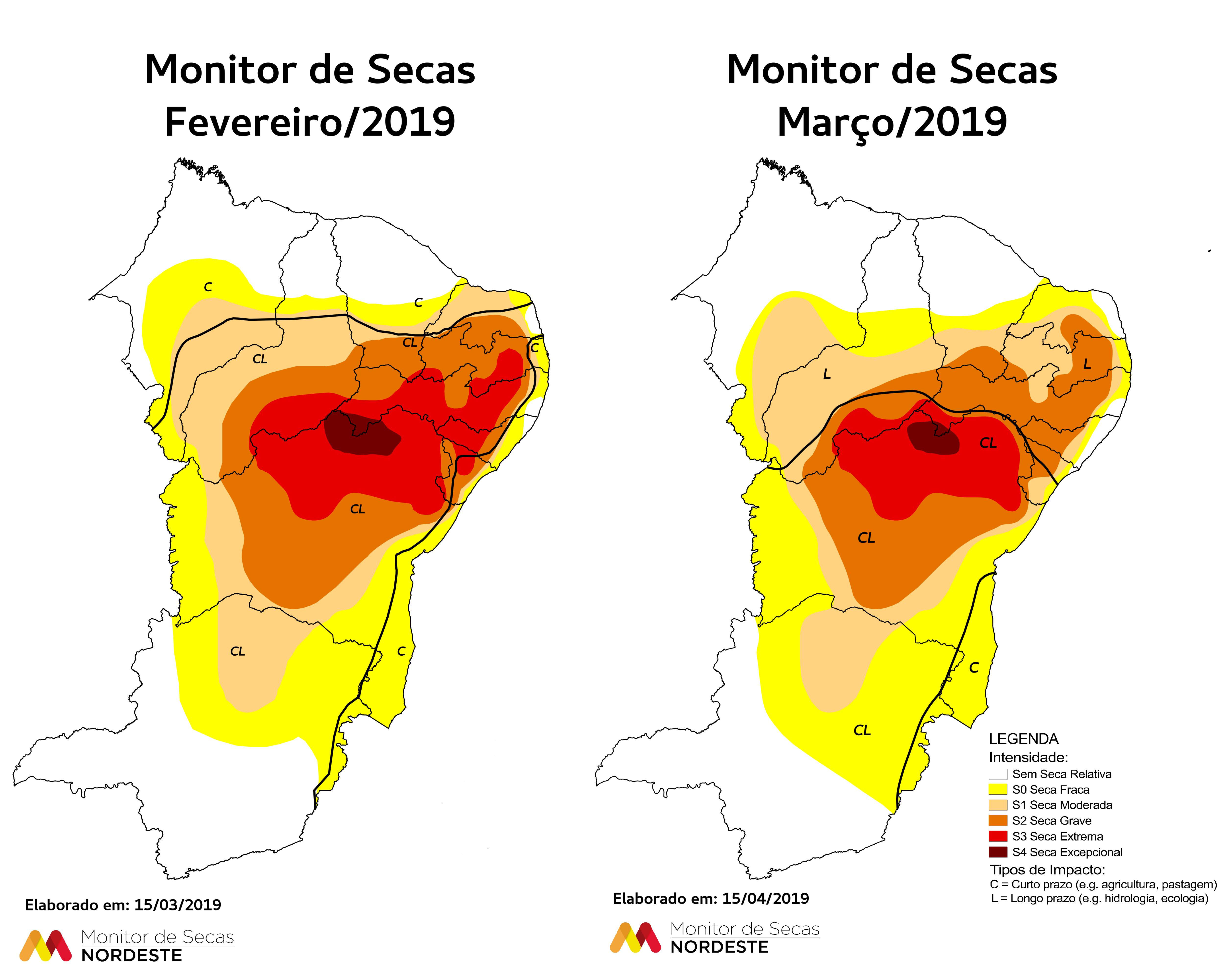 """O Mapa do Monitor de Secas (ou Mapa da Seca) apresenta um """"retrato"""", uma """"fotografia"""" da seca atual, no Nordeste. (FOTO: Divulgação)"""