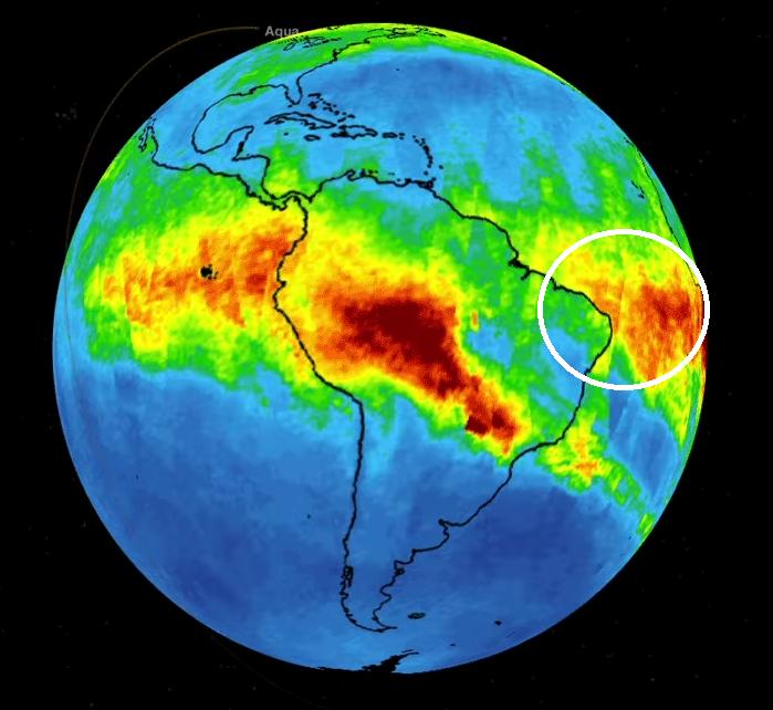 Concentração de CO indicados por modelo numérico. Na marcação em elipse, chegada dos aerossóis ao norte do Ceará (FOTO: NASAJPL-Caltech)