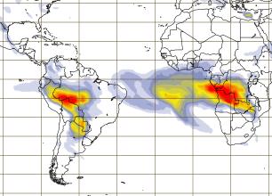 Concentração de aerossóis entre o Brasil e a África no período entre os dias 24 e 25 de agosto, sendo a cor vermelha a indicação de maior concentração. FONTE: Comissão Europeia e vinculado ao European Centre for Medium-Range Weather Forecasts (ECMWF)
