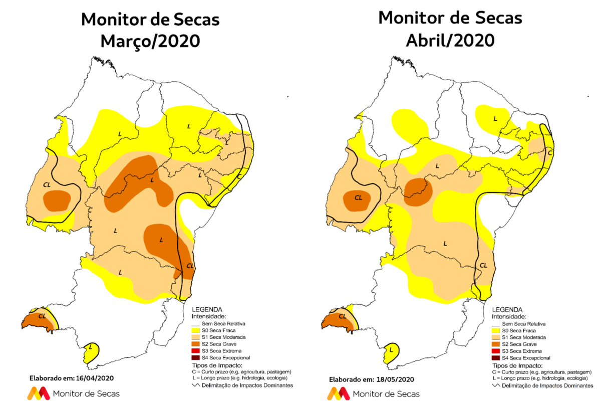 Mapas comparativos indicam melhoria nas condições (FOTO: Reprodução/Monitor de Secas)