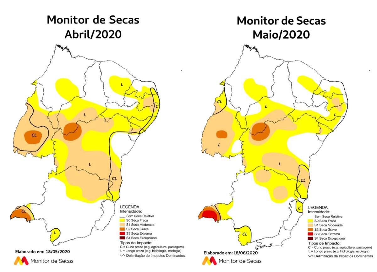 Áreas mais ao norte do Nordeste estão em situação melhor (FOTO: Reprodução/Monitor de Secas)