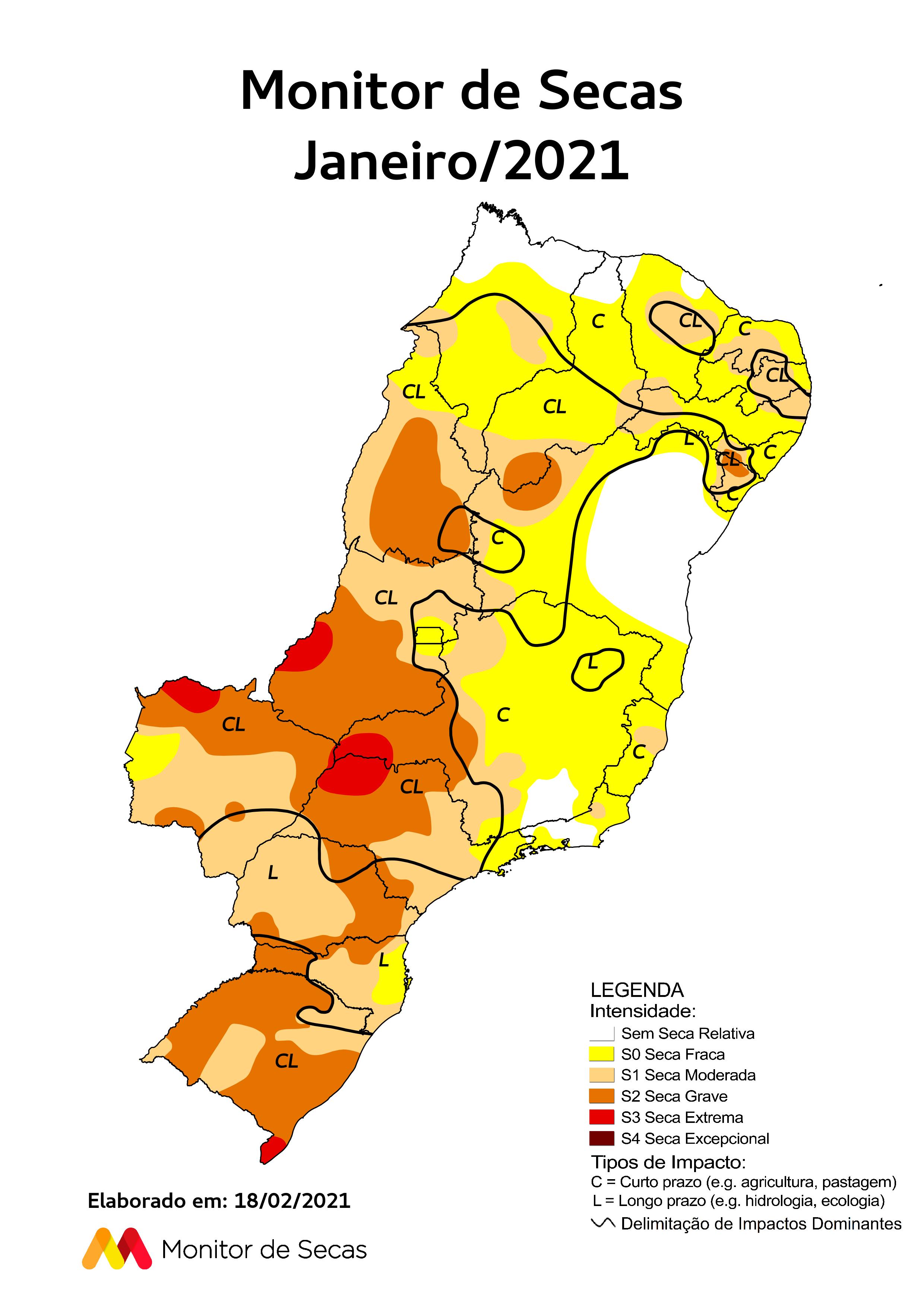 Quase todo o Estado apresenta pelo menos um nível de seca (FOTO: Monitor de Secas)