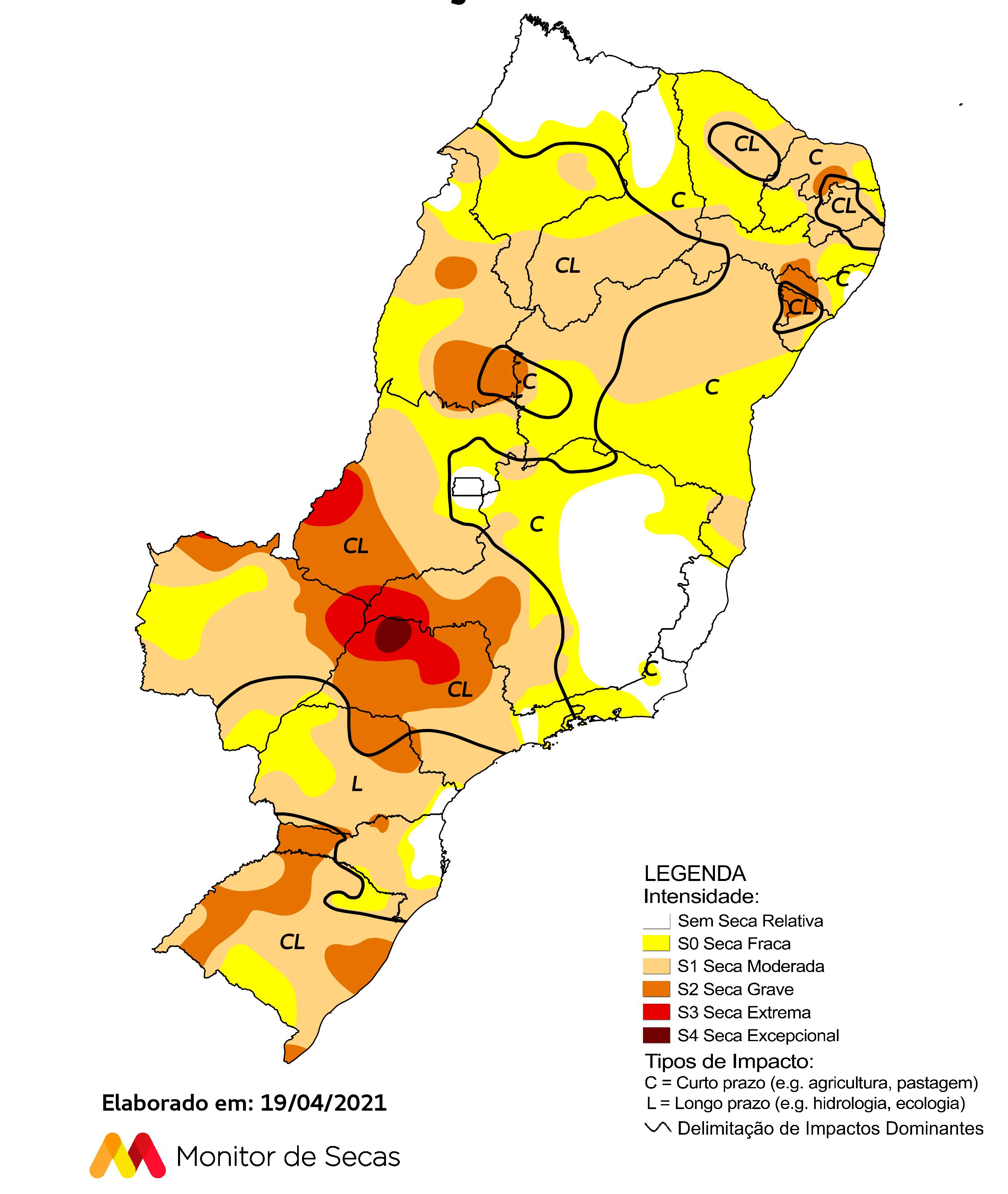 Em sete estados, 100% de seus territórios continuaram com seca no último mês em comparação a fevereiro: Ceará, Mato Grosso do Sul, Paraíba, Pernambuco, Rio Grande do Norte, Rio Grande do Sul e Sergipe.