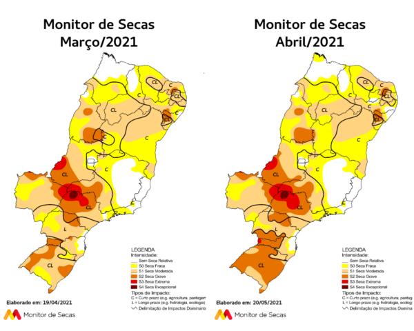 Na Região Nordeste, devido às chuvas abaixo da média no mês de março, observou-se piora na condição de seca (FOTO: Monitor de Secas/Reprodução)