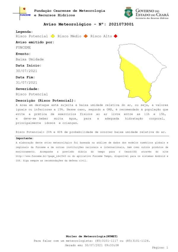Áreas do oeste e sul do Ceará deverão ser mais afetadas pelo tempo seco