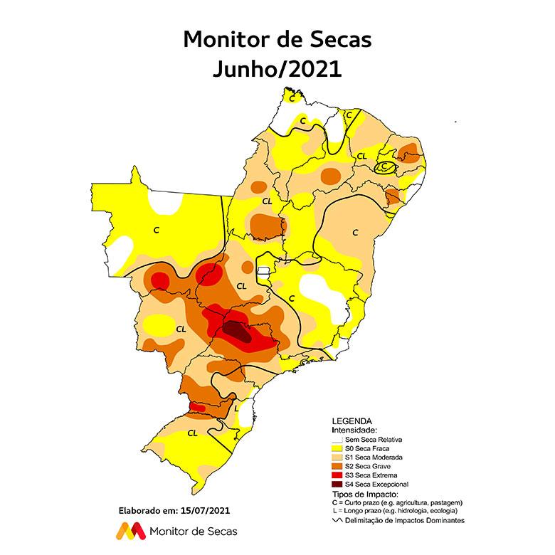 Mapa mais recente do Monitor de Secas