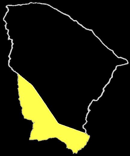 Em amarelo, a área sob aviso de baixa umidade (FOTO: Funceme)